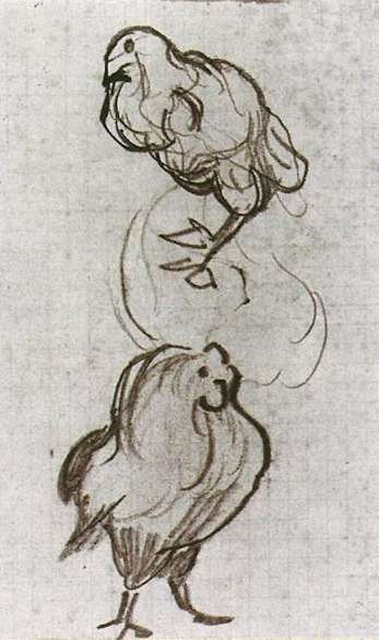 vincent-van-gogh-drawing-sketches-of-hen-and-a-cock